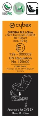 etiqueta i-size silla cybex sirona m2 i-size