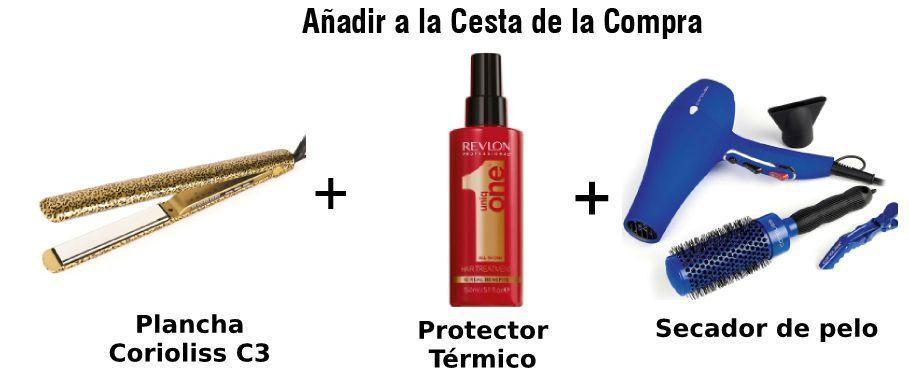 paquete corioliss plancha de pelo, secador y protector