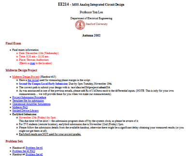 Stanford EE214 course - Advanced Analog Integrated Circuit Design