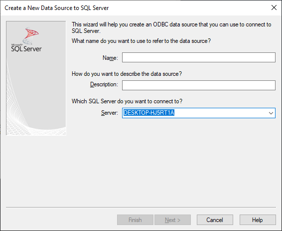 Create a New Data Source to SQL Server - Server Name