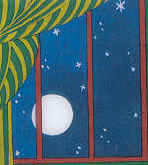 Illustrations in Goodnight Moon excerpt showing the Full Moon at 7:40p
