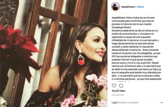 Este es el comunicado que Mayeli publicó en su Instagram