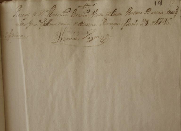 [Folio 19r] Recibí de doña Antonia Mejía, viuda de Juan Andrés Botero tres pesos de oro fino, que él me debía de diezmo. Rionegro y junio 29 de 1746. / Toribio Gayón. En 3 ps de oro