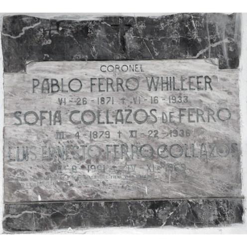 Tumba del Coronel Pablo Ferro Whilleer- Sofia Collazos de Ferro y Luis Ernesto Ferro C