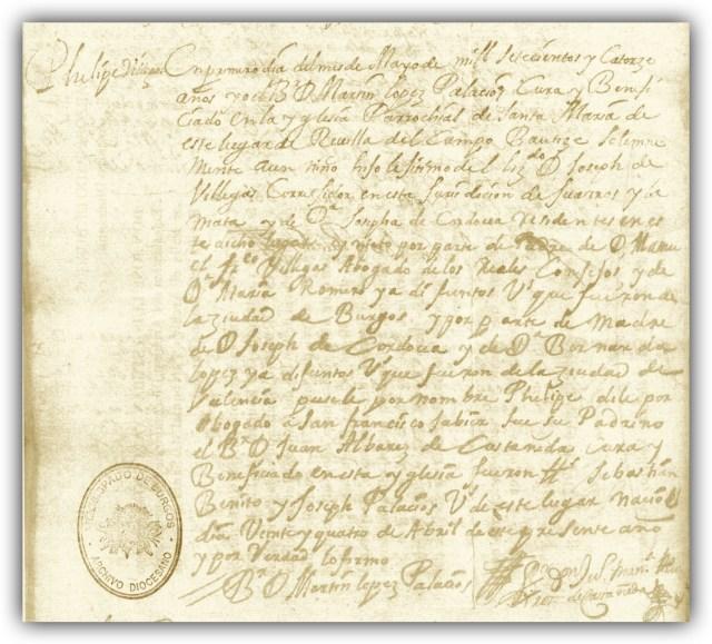 Partida de Bautismo de Phelipe Villegas Córdova, conocido también como Don. Felipe de Villegas y Córdoba. Parroquia Santa María de Revilla del Campo, Burgos. L.3º, fol.137v.a.1714.