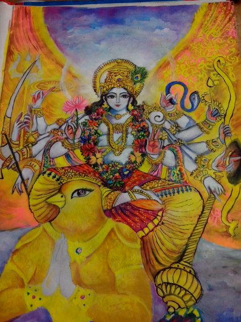 A painting of Lord Vishnu riding His carriage Garur(the Eagle)..... (poster color)