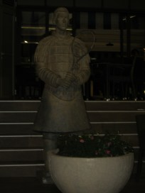 terracotta warrior guards Novak's restaurant