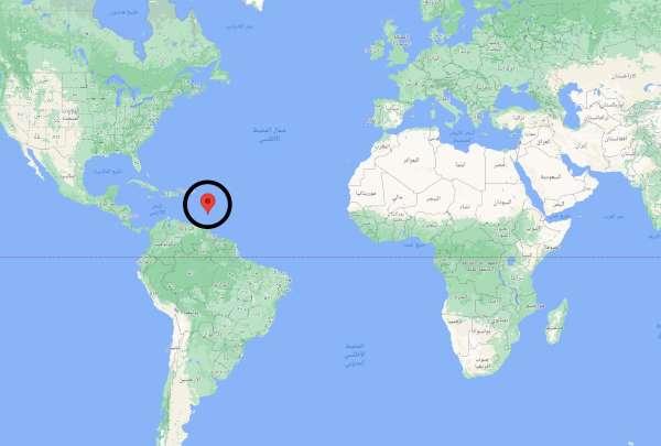أين تقع بربادوس على الخريطة