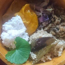 11/18 昼 バスマティ玄米とキヌア緑・ムング豆・キャベツ・カボチャのスープ・ココナッツチャツネ