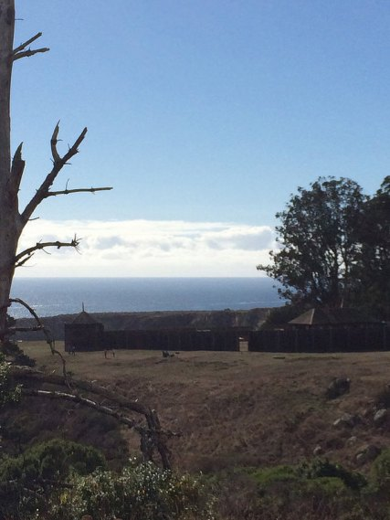 Looking back on Fort Ross from the fort's cemetery.