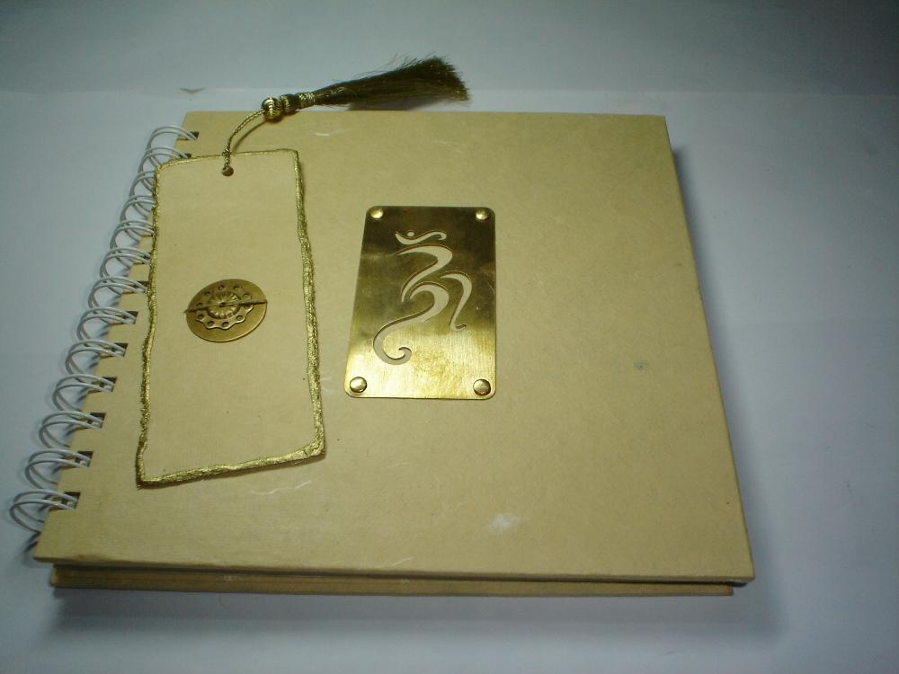 Brass journal with OM motif