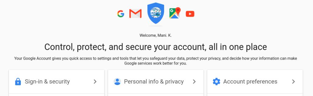 Google Accounts Page