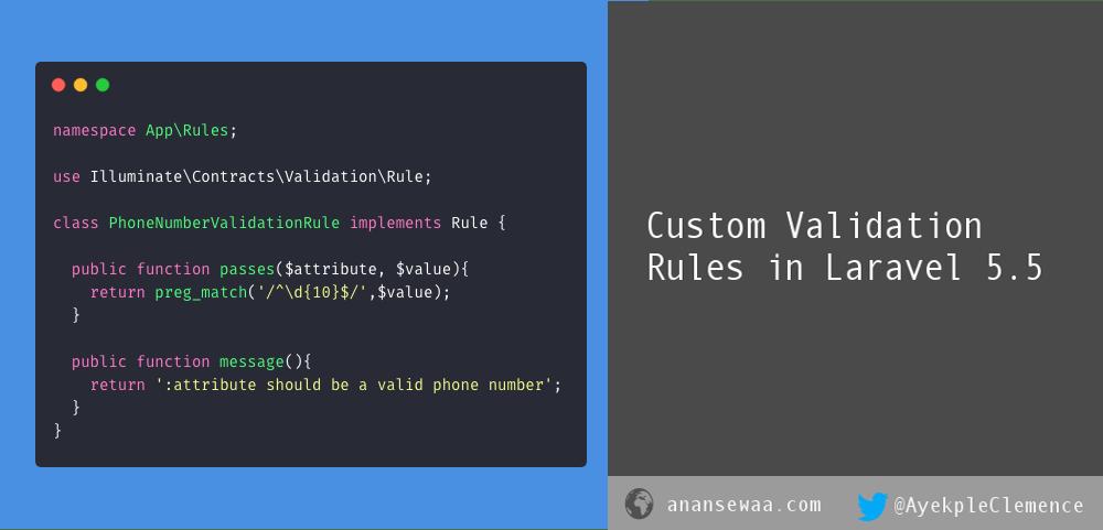 Custom Validation Rules in Laravel 5.5