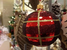 John Lewis at Christmas Glittery Checked Bauble, Red:Gold