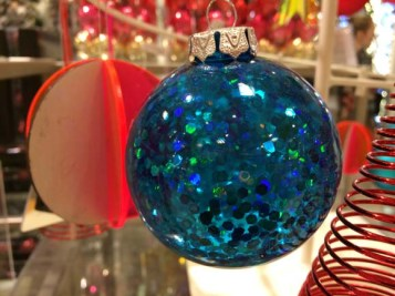 John Lewis at Christmas Mercurised Glass Flat Bauble, Blue