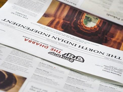 The Dhabba Glasgow- Ananyah- Newspaper Menu