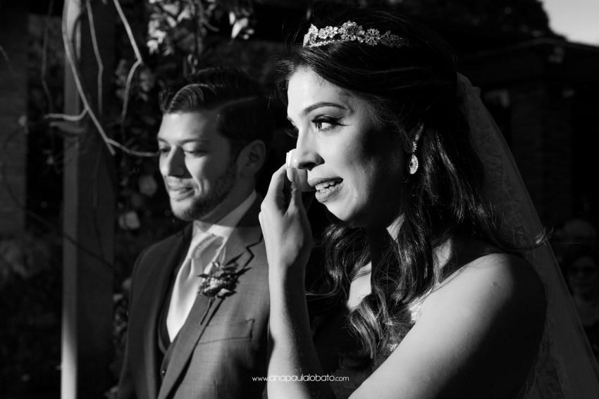 emotional bride clear tears in her destination wedding