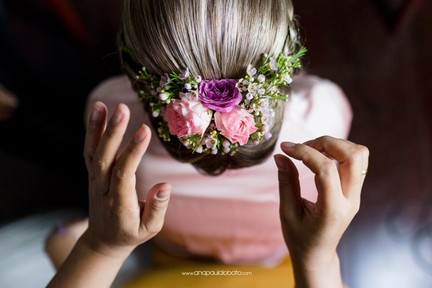 bride with flowers in hear hair