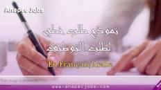 """إليكم نموذج طلب عمل باللغة العربية """"نموذج طلب خطي بسيط و أنيق لطلب التوظيف"""