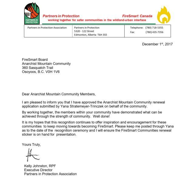 FireSmart Recognition Letter 2017