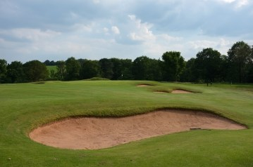 The view from the 14th fairway from just in front of the cross bunker.