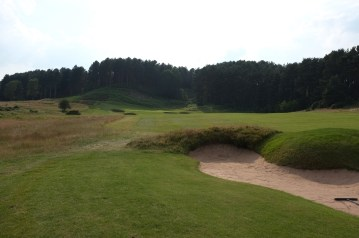 The view from the 17th fairway from just in front of the third fairway bunker that gaudy the left-hand side of the hole.