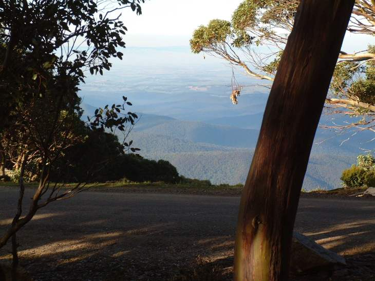 ANARE Ski Club members enjoy the views across the Yallourne Valley.