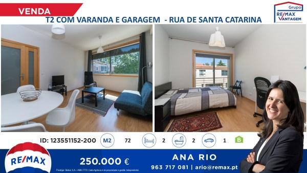 T2 com Varanda e Garagem na Rua de Santa Catarina