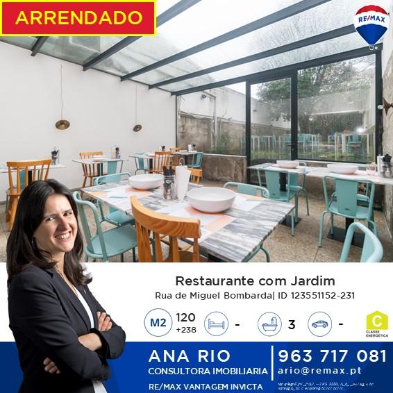 Arrendado Restaurante com Jardim em Miguel Bombarda