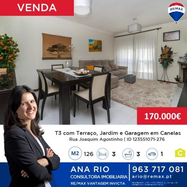 ID1071-276 T3 com Terraço e Jardim de Inverno em Canelas