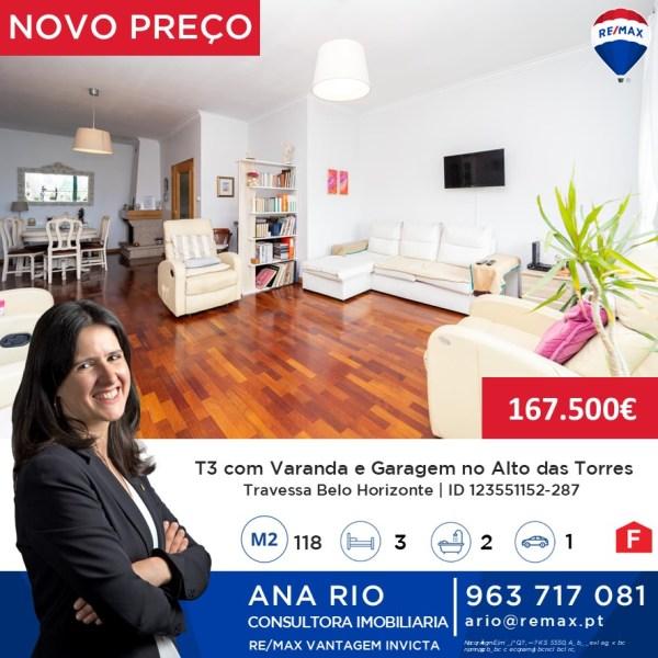 ID287 Novo Preço T3 com Varanda e Garagem no Alto das Torres