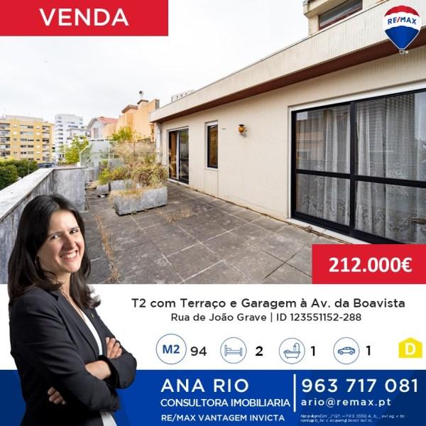 ID288 Nova Angariação - Venda T2 com terraço e garagem à Av. da Boavista