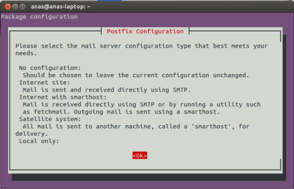 Postfix Configuration Screen 1