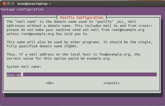Postfix Configuration Screen 3