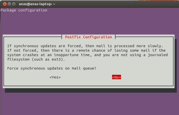 Postfix Configuration Screen 6