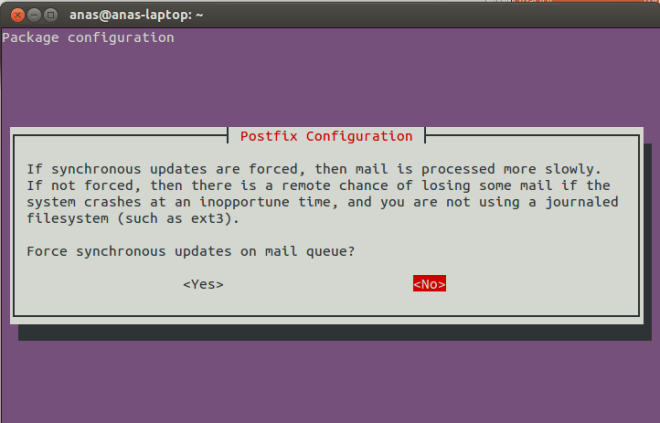 Postfix Configuration Screen 6