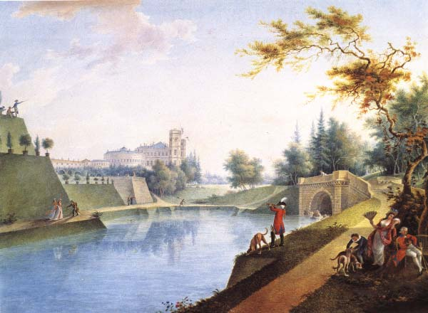 Вид на Гатчинский дворец и Карпин пруд