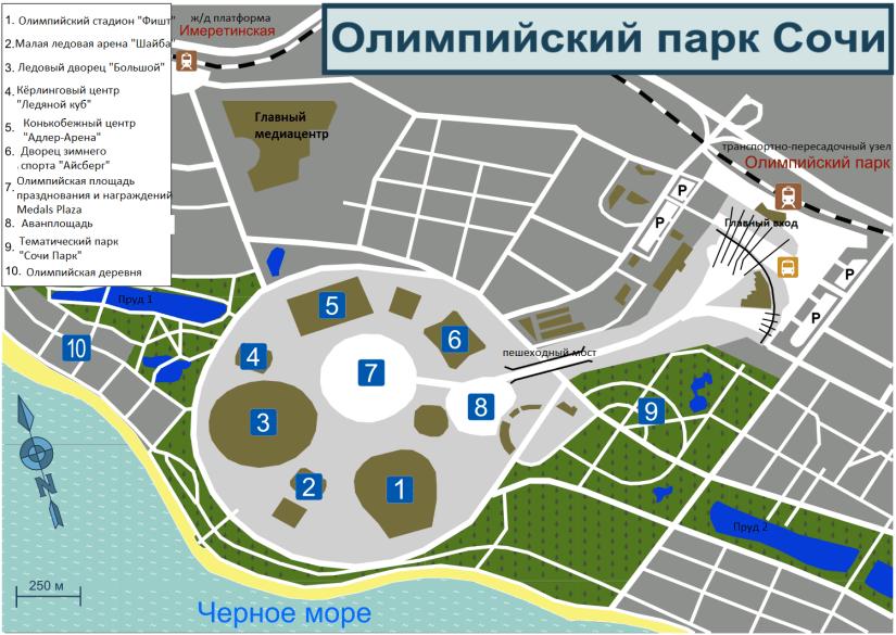 Схема Олимпийского парка в Сочи