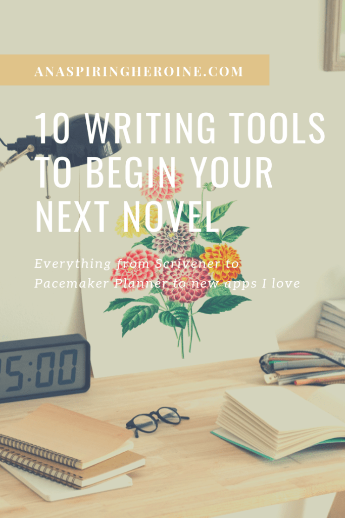 I've just begun a new fiction writing project and wanted to share the 10 writing tools that are helping me make the most of my writing time each day! From Scrivener to a meditation app, they'll inspire you to start writing today. | An Aspiring Heroine
