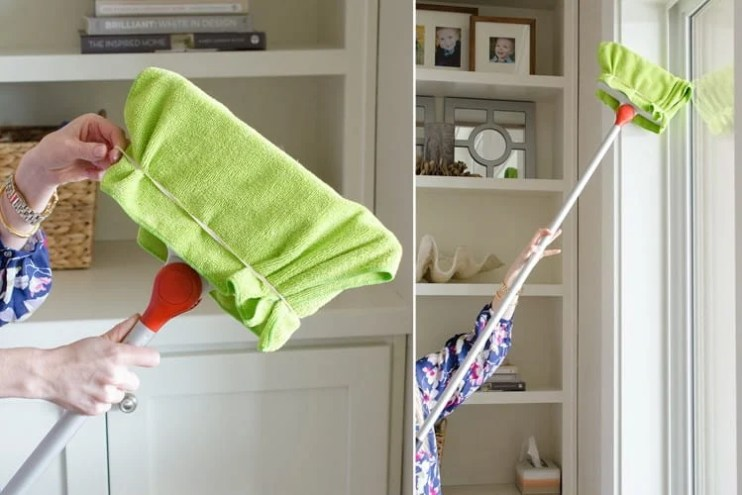 Dusting with broom - Cleaning Hacks. Learn how to use these easy natural cleaning products for home - cleaning tricks and tips for lazy people. Deep cleaning and professional tips and tricks. #cleaning #hacks #cleaningtips #tips #house #homedecor