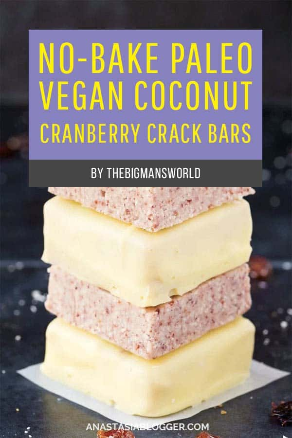 No-Bake Paleo Vegan Coconut Cranberry Crack Bars. Save these 9 Easy Keto Dessert Recipes – keep your Ketogenic Diet guilt-free and indulge your sweet tooth self! These healthy Keto Desserts are quick to cook, some are no-bake, but all are low carb and will never break your ketosis. Keto Fat Bombs, chocolate, cream cheese, cheesecakes and other pleasures all Keto-friendly! #keto #ketogenic #ketodiet