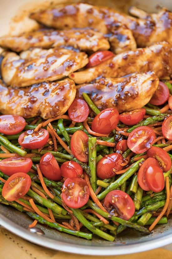One Pan Balsamic Chicken and Veggies - 8 easy healthy dinner recipes for weight loss – make clean eating a habit! I gathered recipes, which can be cooked in under 30 min – healthy dinner chicken recipes, salads, crock pot recipes. You can adopt these easy healthy dinner recipes for two or for family. #recipe #weightlossrecipes #dinner