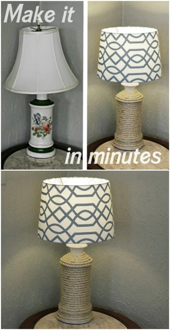 Rope Wrapped Lamp - DIY farmhouse decor ideas are very trendy these days if you watch some home renovation TV shows you probably know that it's in high demand now. Check this farmhouse decor on a budget for the living room, bedroom, country kitchen, bathroom and other parts of your rustic home.