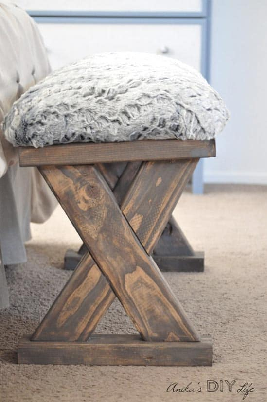 DIY Upholstered X-Bench for entry or end of bed - DIY farmhouse decor ideas are very trendy these days if you watch some home renovation TV shows you probably know that it's in high demand now. Check this farmhouse decor on a budget for the living room, bedroom, country kitchen, bathroom and other parts of your rustic home.