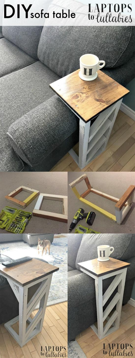 Easy DIY Sofa Table - DIY farmhouse decor ideas are very trendy these days if you watch some home renovation TV shows you probably know that it's in high demand now. Check this farmhouse decor on a budget for the living room, bedroom, country kitchen, bathroom and other parts of your rustic home.