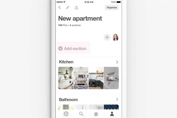 Pinterest update sections