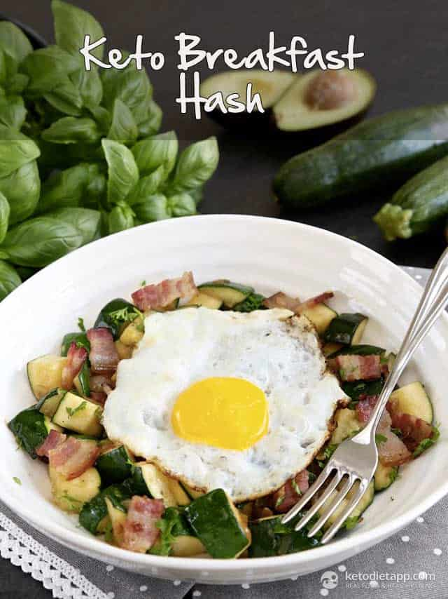 Keto Breakfast Hash - 14 Easy Keto Breakfast to start burning fat. Keto Breakfast on the go, Keto breakfast make ahead recipes. Eggs cooked in creative ways are the basis of your breakfast on a Ketogenic diet. But it's not eggs only! You can have a no eggs Keto breakfast with muffins, Keto breakfast pancakes or Keto breakfast smoothie. #keto #ketogenic #ketodiet #breakfast #ketorecipes