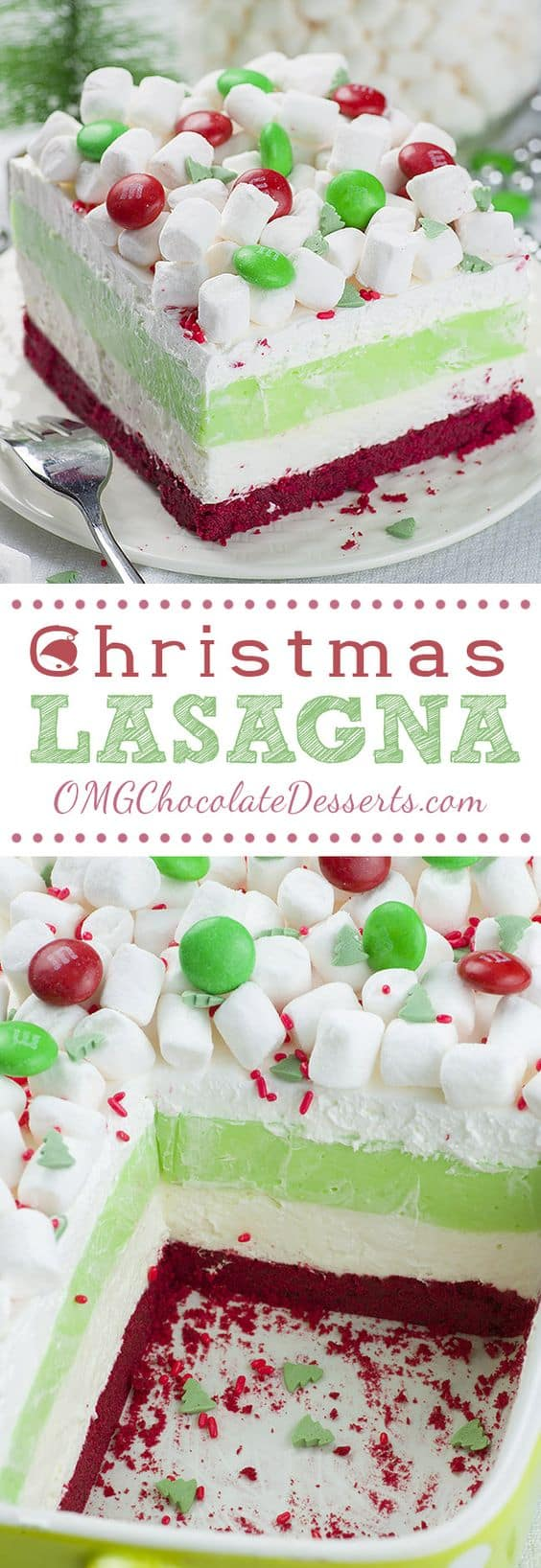 Christmas Lasagna - Best Christmas Desserts - Recipes and Christmas Treats to Try this Year! Try these amazing and cute easy Christmas dessert recipes to have a great party for your kids, friends, and family! Cupcakes, cakes, sweet bites, pies, brownies, home-made Christmas popcorn, Christmas cookies and other delights. #christmas #dessertfoodrecipes #xmas #recipes #food #christmasfood