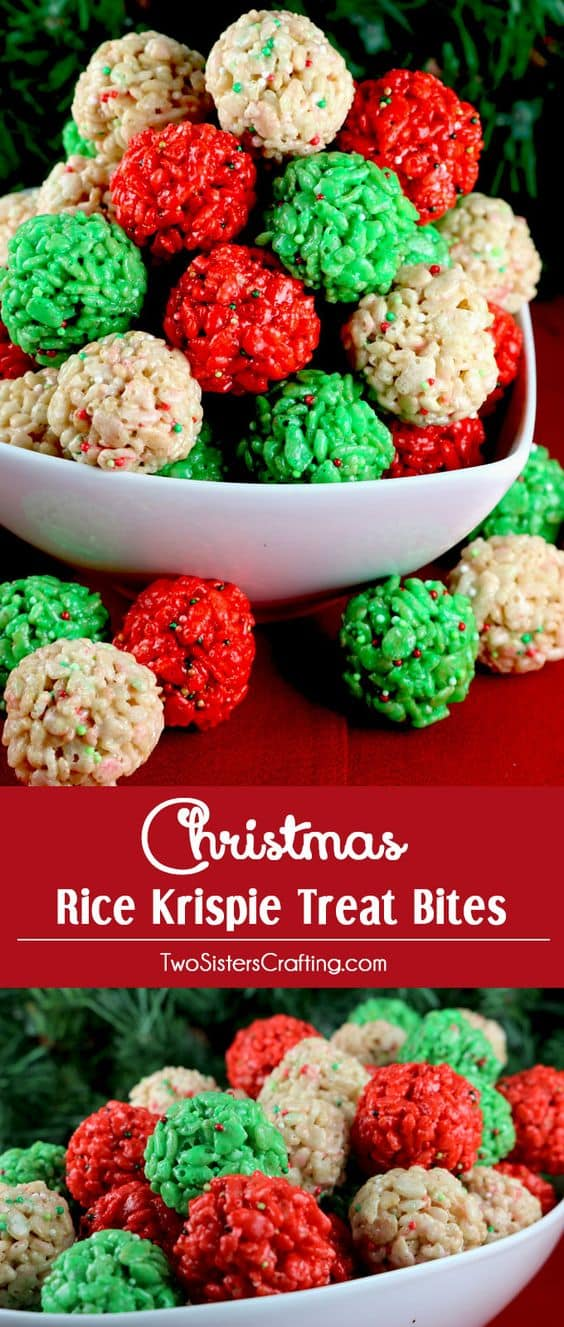 Christmas Rice Krispie Treat Bites - Best Christmas Desserts - Recipes and Christmas Treats to Try this Year! Try these amazing and cute easy Christmas dessert recipes to have a great party for your kids, friends, and family! Cupcakes, cakes, sweet bites, pies, brownies, home-made Christmas popcorn, Christmas cookies and other delights. #christmas #dessertfoodrecipes #xmas #recipes #food #christmasfood