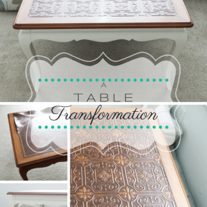 Grey Planked Table with Chocolate Accents {Themed Furniture Makeover Day}